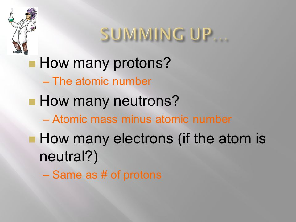  How many protons  How many neutrons  How many electrons (if the atom is neutral )