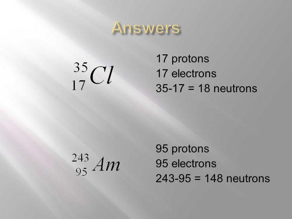 17 protons 17 electrons 35-17 = 18 neutrons 95 protons 95 electrons 243-95 = 148 neutrons
