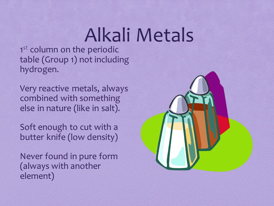 Alkali Metals 1 st column on the periodic table (Group 1) not including hydrogen.