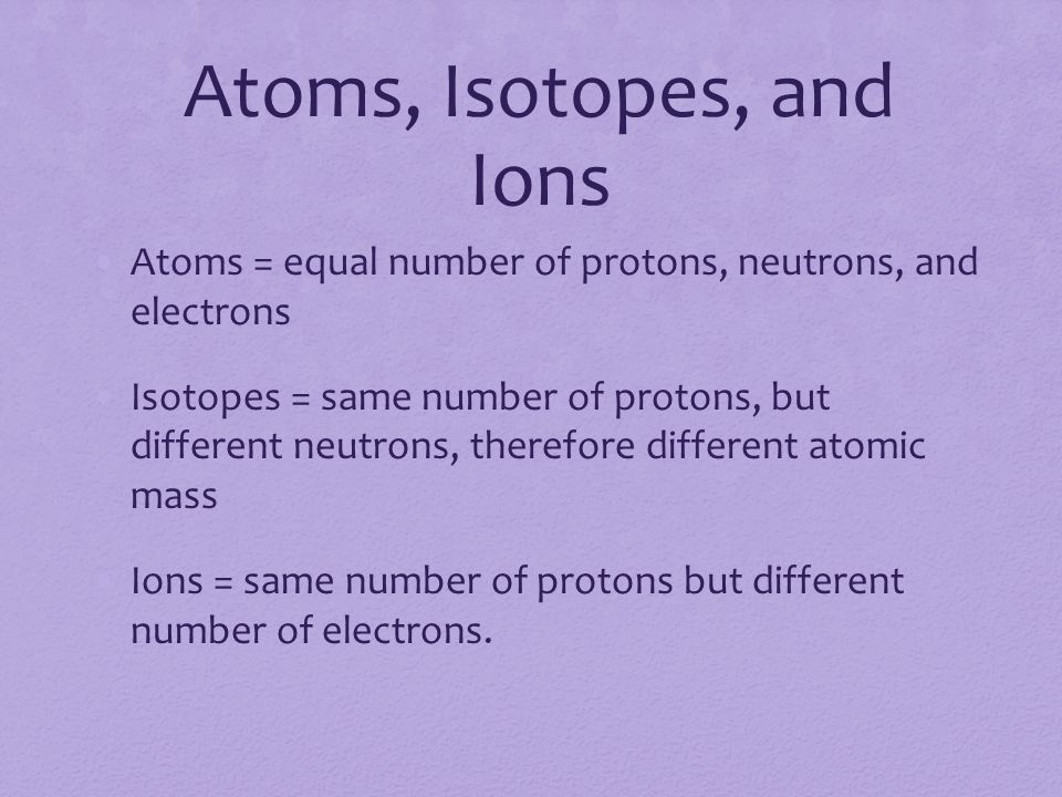 Atoms, Isotopes, and Ions Atoms = equal number of protons, neutrons, and electrons Isotopes = same number of protons, but different neutrons, therefore different atomic mass Ions = same number of protons but different number of electrons.