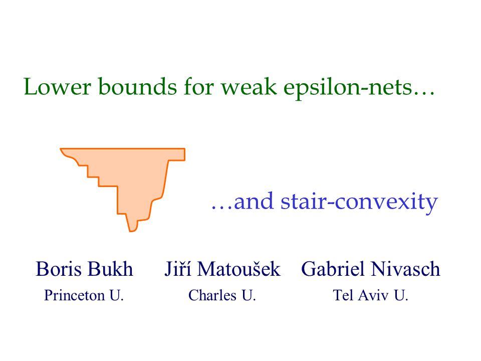 Weak epsilon-nets Let S be a finite point set in R d.