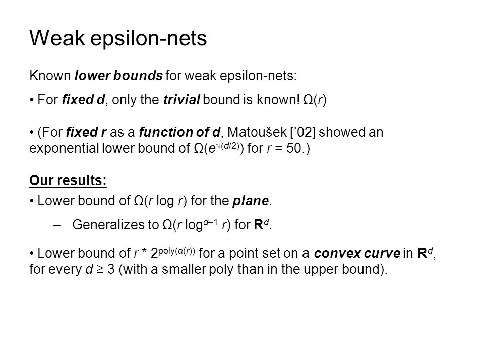 Weak epsilon-nets Known lower bounds for weak epsilon-nets: For fixed d, only the trivial bound is known.