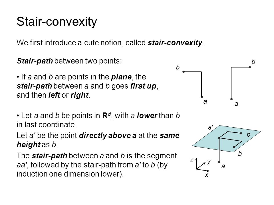 Stair-convexity A set S in R d is stair-convex if for every pair of points of S, the stair-path between them is entirely contained in S.