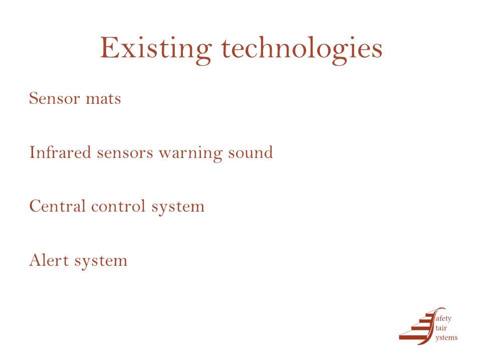 Existing technologies Sensor mats Infrared sensors warning sound Central control system Alert system