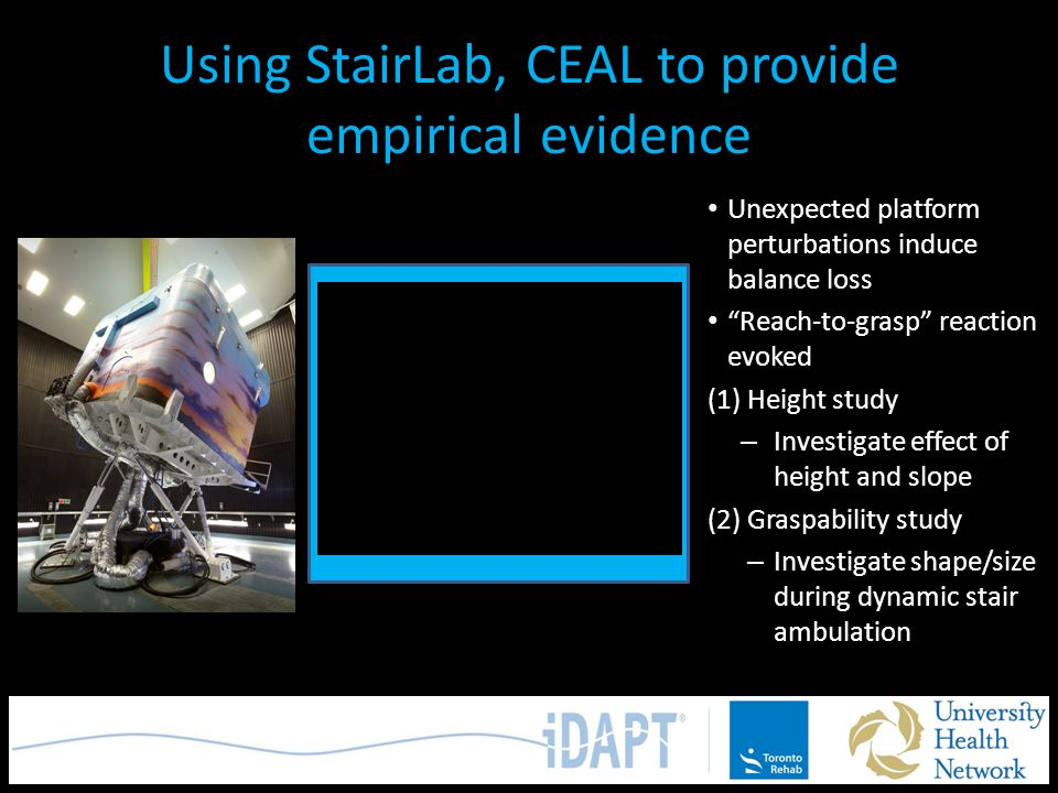 "Using StairLab, CEAL to provide empirical evidence Unexpected platform perturbations induce balance loss ""Reach-to-grasp"" reaction evoked (1) Height s"