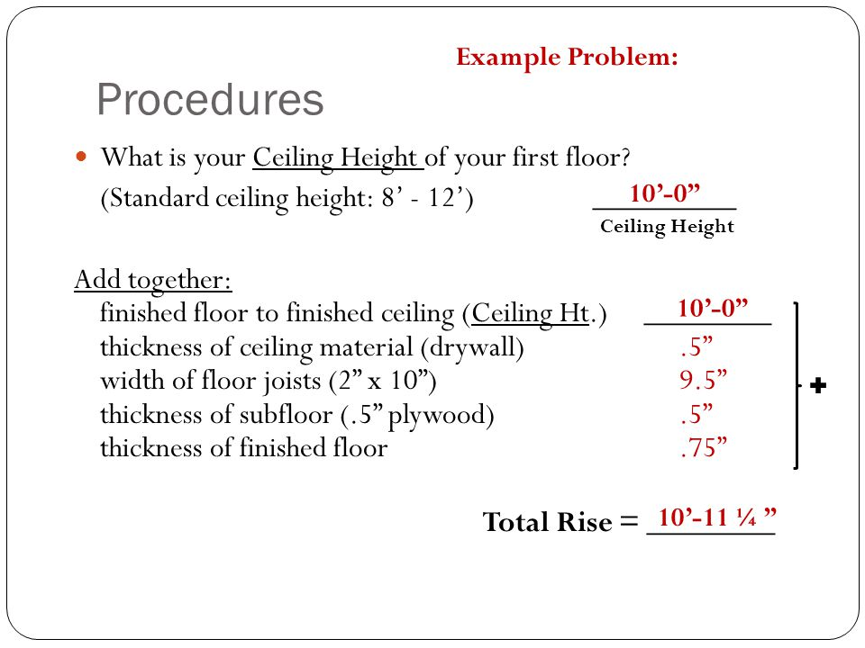 Procedures What is your Ceiling Height of your first floor? (Standard ceiling height: 8' - 12') _________ Add together: finished floor to finished cei