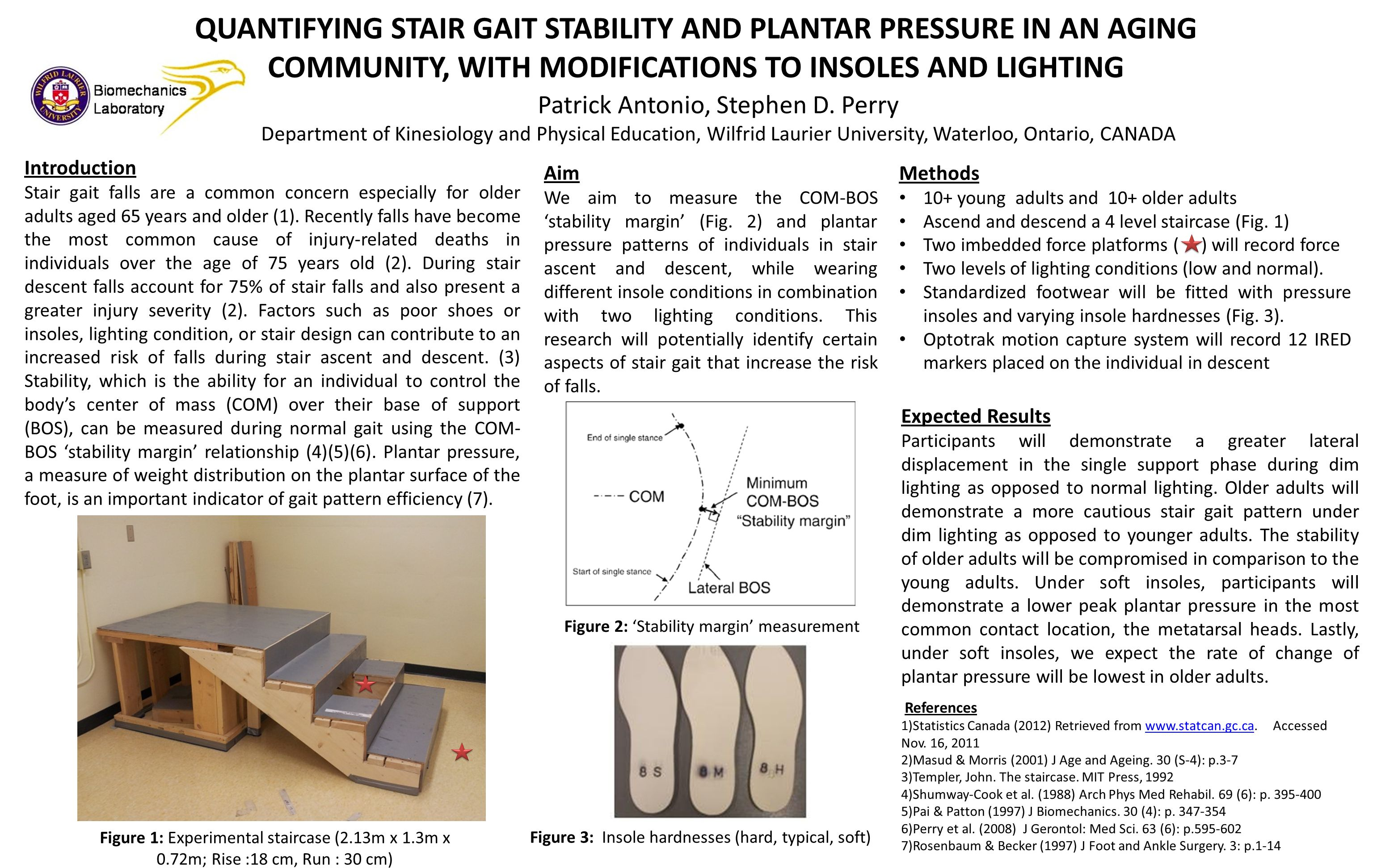 QUANTIFYING STAIR GAIT STABILITY AND PLANTAR PRESSURE IN AN AGING COMMUNITY, WITH MODIFICATIONS TO INSOLES AND LIGHTING Introduction Stair gait falls are a common concern especially for older adults aged 65 years and older (1).