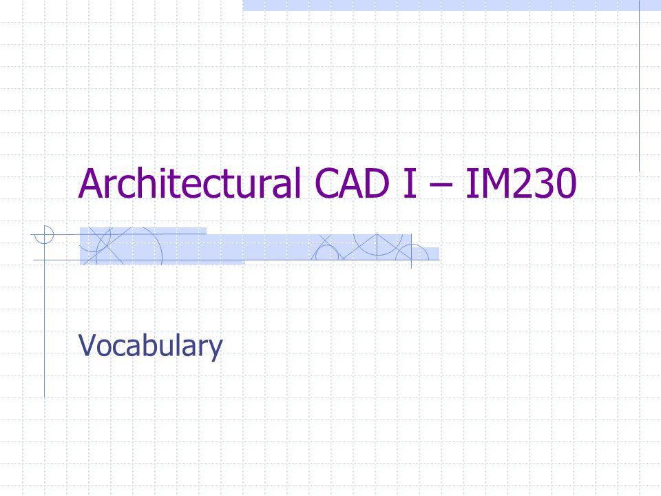 Architectural CAD I – IM230 Vocabulary
