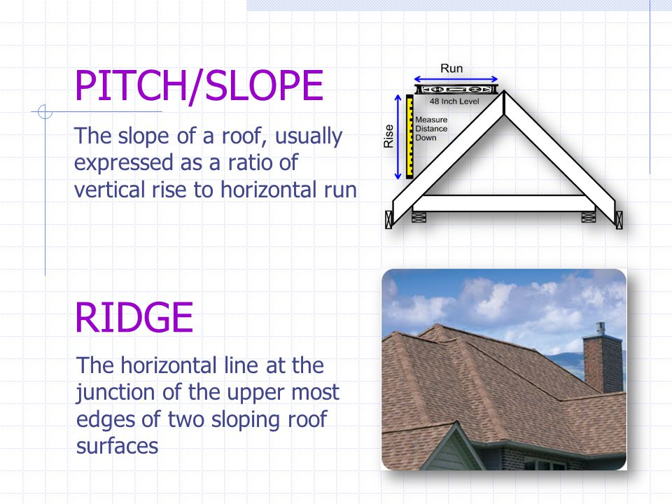 PITCH/SLOPE The slope of a roof, usually expressed as a ratio of vertical rise to horizontal run RIDGE The horizontal line at the junction of the uppe