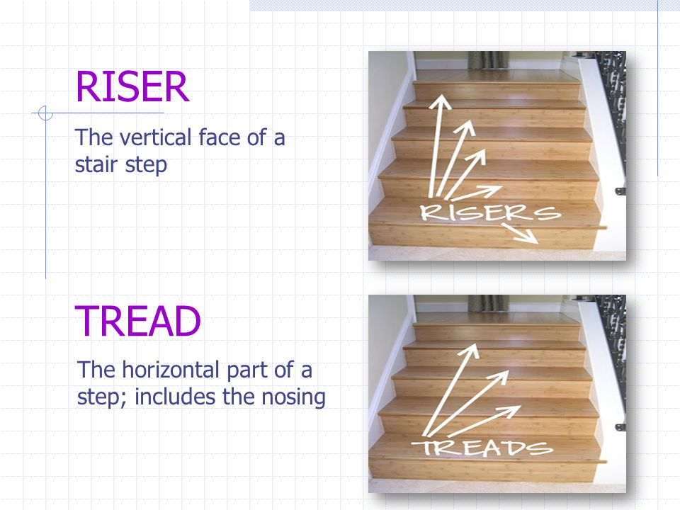 RISER The vertical face of a stair step TREAD The horizontal part of a step; includes the nosing