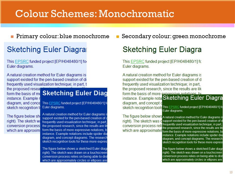 Colour Schemes: Monochromatic Primary colour: blue monochrome 13 Secondary colour: green monochrome