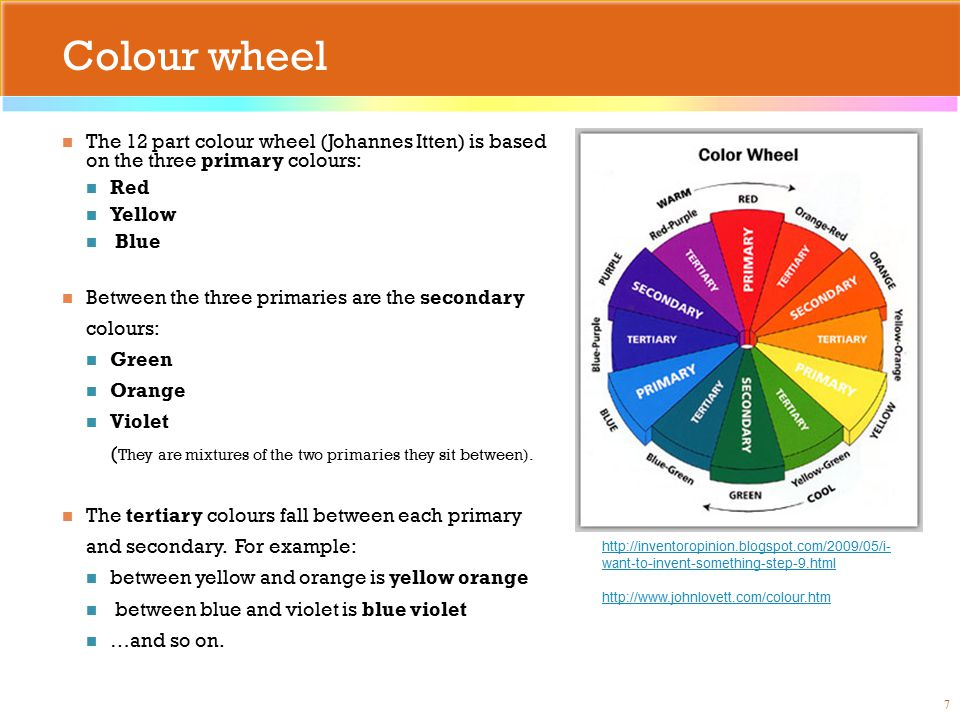 Colour wheel The 12 part colour wheel (Johannes Itten) is based on the three primary colours: Red Yellow Blue Between the three primaries are the secondary colours: Green Orange Violet ( They are mixtures of the two primaries they sit between).