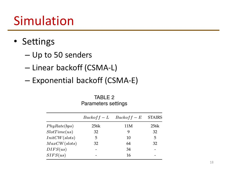 Simulation Settings – Up to 50 senders – Linear backoff (CSMA-L) – Exponential backoff (CSMA-E) 18