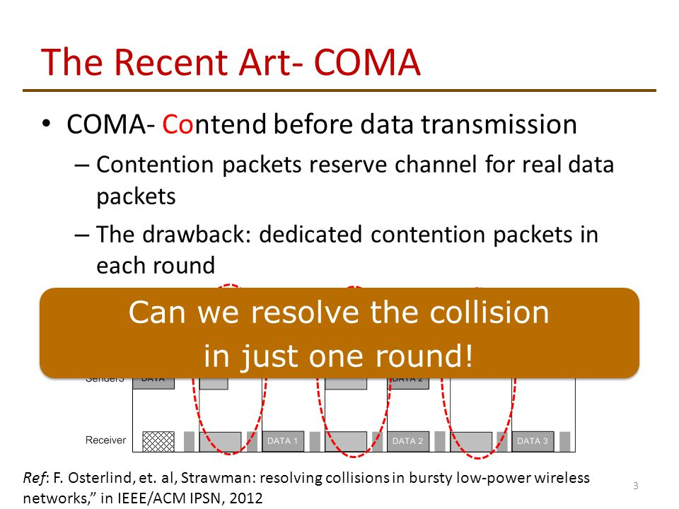 The Recent Art- COMA COMA- Contend before data transmission – Contention packets reserve channel for real data packets – The drawback: dedicated contention packets in each round 3 Can we resolve the collision in just one round.