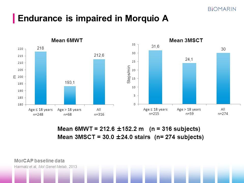 Endurance is impaired in Morquio A Mean 6MWT = 212.6 ±152.2 m (n = 316 subjects) Mean 3MSCT = 30.0 ±24.0 stairs (n= 274 subjects) Harmatz et al, Mol Genet Metab, 2013 MorCAP baseline data Mean 6MWTMean 3MSCT n=248n=68n=316 n=215n=59n=274