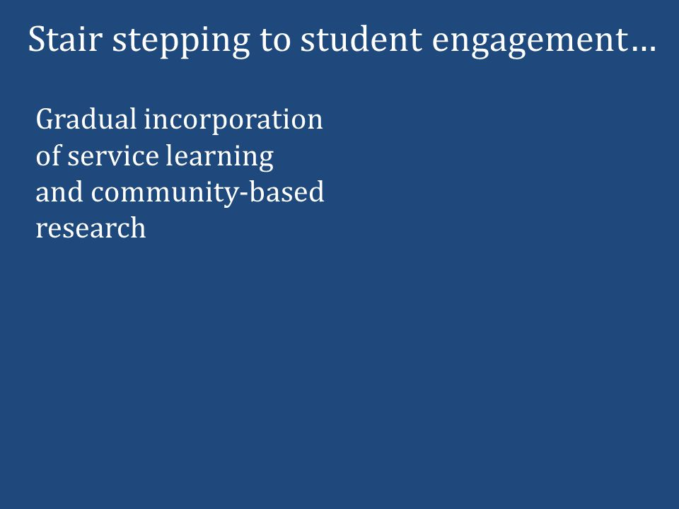Stair stepping to student engagement… Gradual incorporation of service learning and community-based research