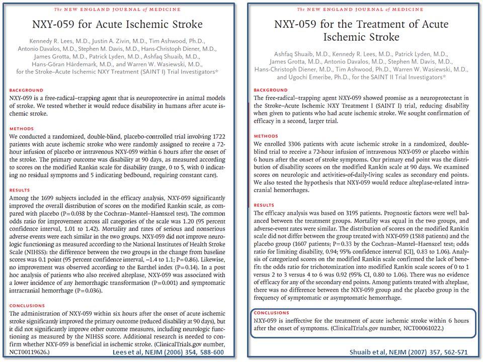 Lees et al, NEJM (2006) 354, 588-600 Shuaib et al, NEJM (2007) 357, 562-571