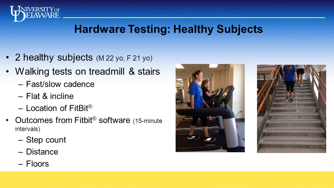Hardware Testing: Healthy Subjects 2 healthy subjects (M 22 yo, F 21 yo) Walking tests on treadmill & stairs –Fast/slow cadence –Flat & incline –Location of FitBit ® Outcomes from Fitbit ® software (15-minute intervals) –Step count –Distance –Floors
