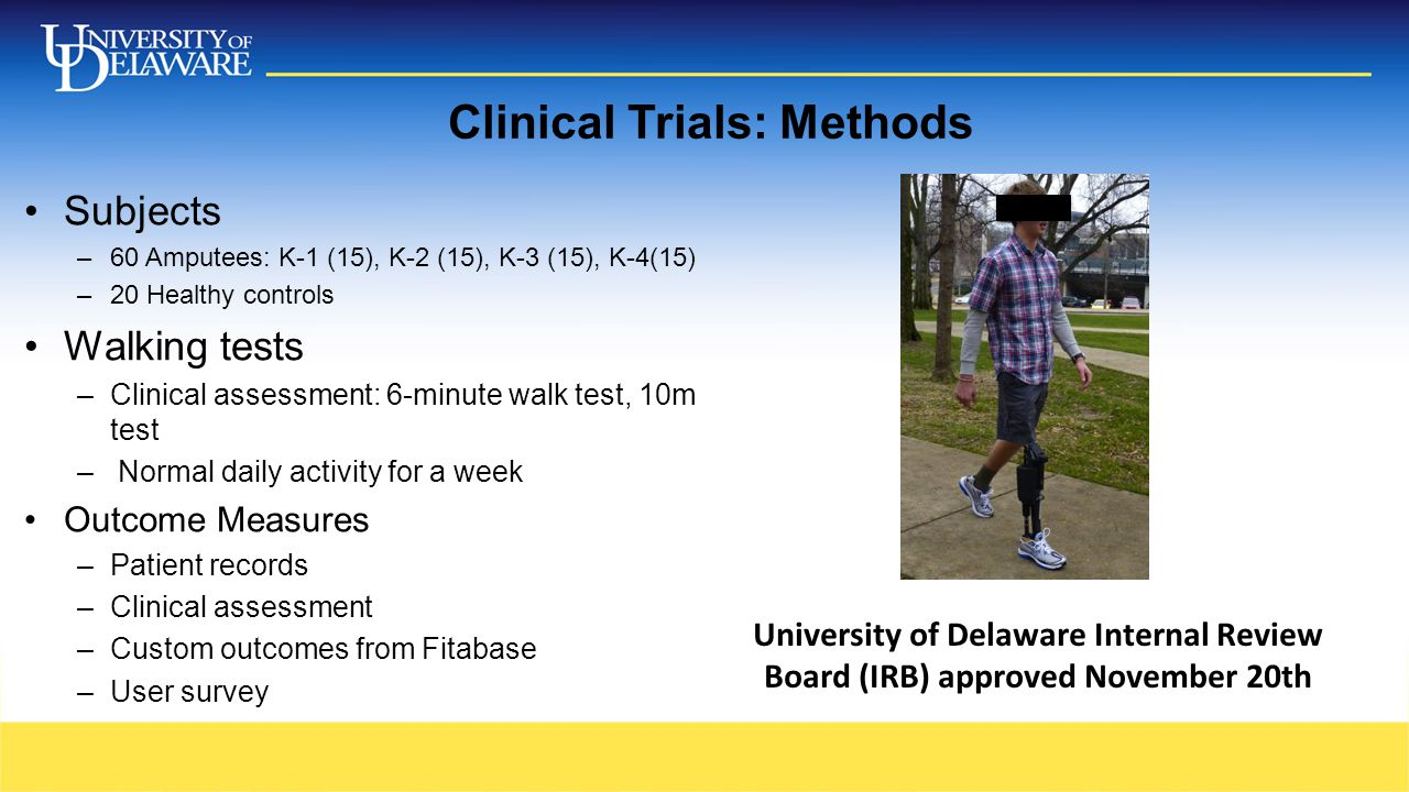 Clinical Trials: Methods Subjects –60 Amputees: K-1 (15), K-2 (15), K-3 (15), K-4(15) –20 Healthy controls Walking tests –Clinical assessment: 6-minut