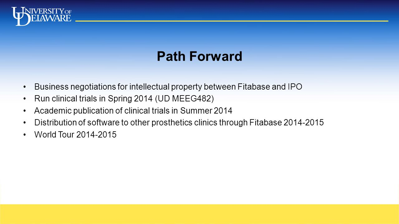 Path Forward Business negotiations for intellectual property between Fitabase and IPO Run clinical trials in Spring 2014 (UD MEEG482) Academic publica
