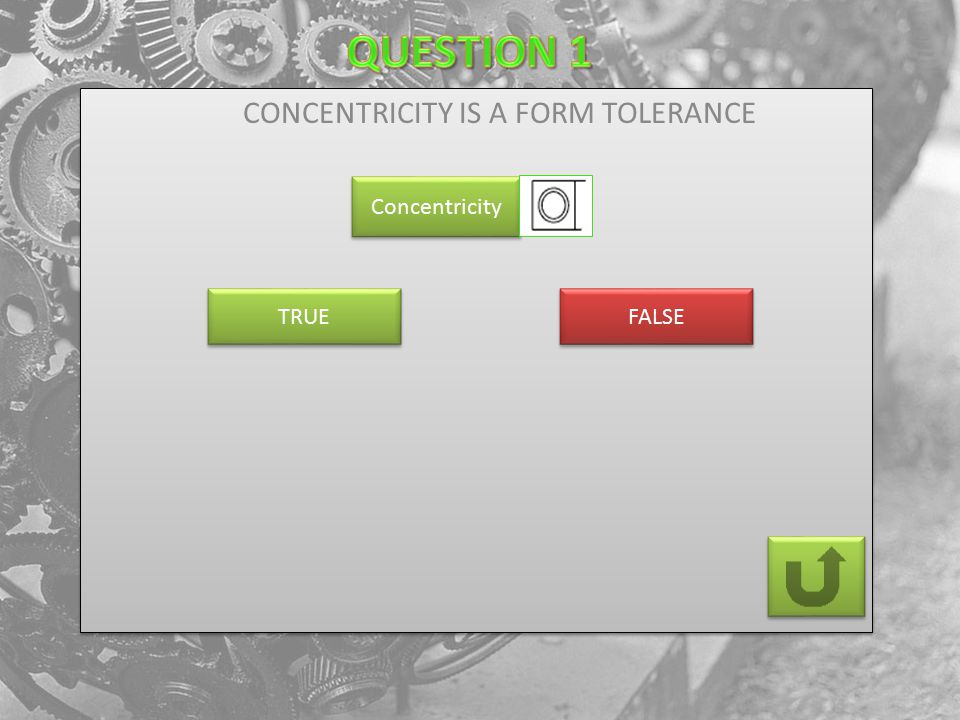 CONCENTRICITY IS A FORM TOLERANCE Concentricity FALSE TRUE