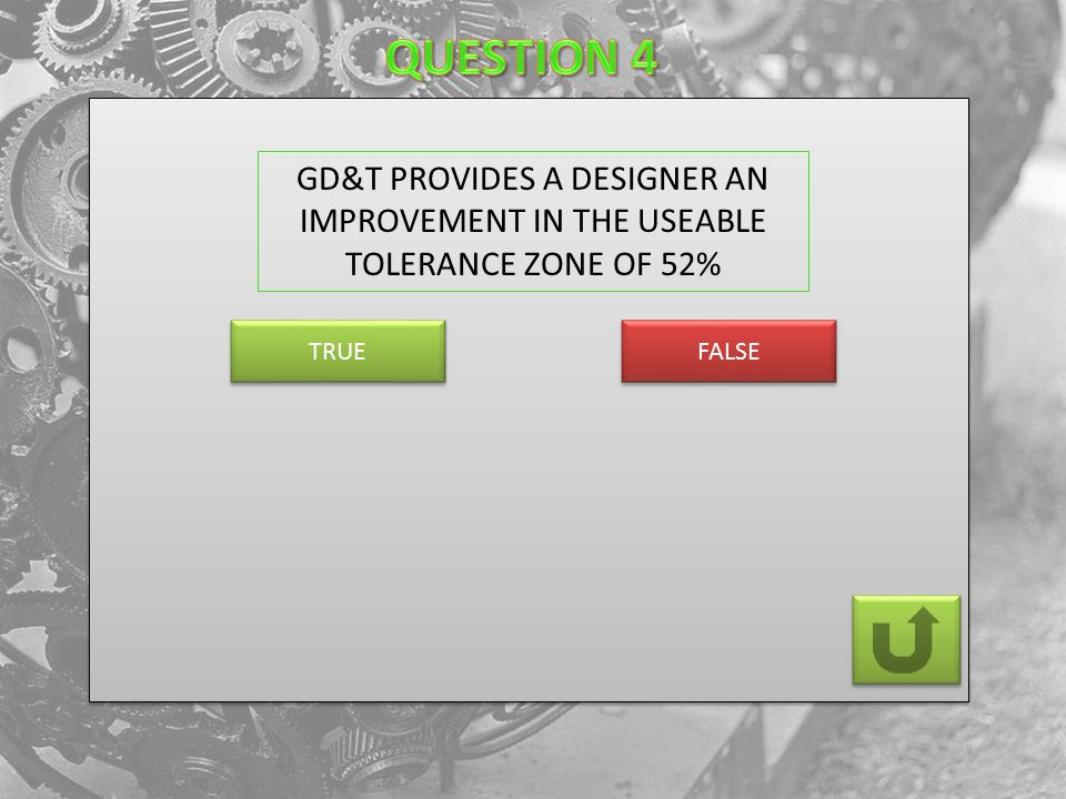 FALSE TRUE GD&T PROVIDES A DESIGNER AN IMPROVEMENT IN THE USEABLE TOLERANCE ZONE OF 52%