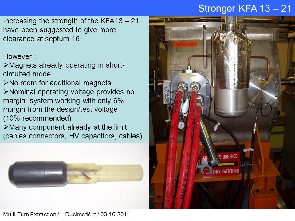 Increasing the strength of the KFA13 – 21 have been suggested to give more clearance at septum 16. However :  Magnets already operating in short- cir