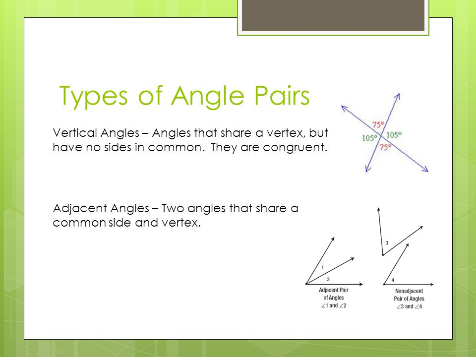 Types of Angle Pairs Vertical Angles – Angles that share a vertex, but have no sides in common.