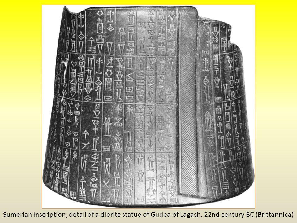 Sumerian inscription, detail of a diorite statue of Gudea of Lagash, 22nd century BC (Brittannica)