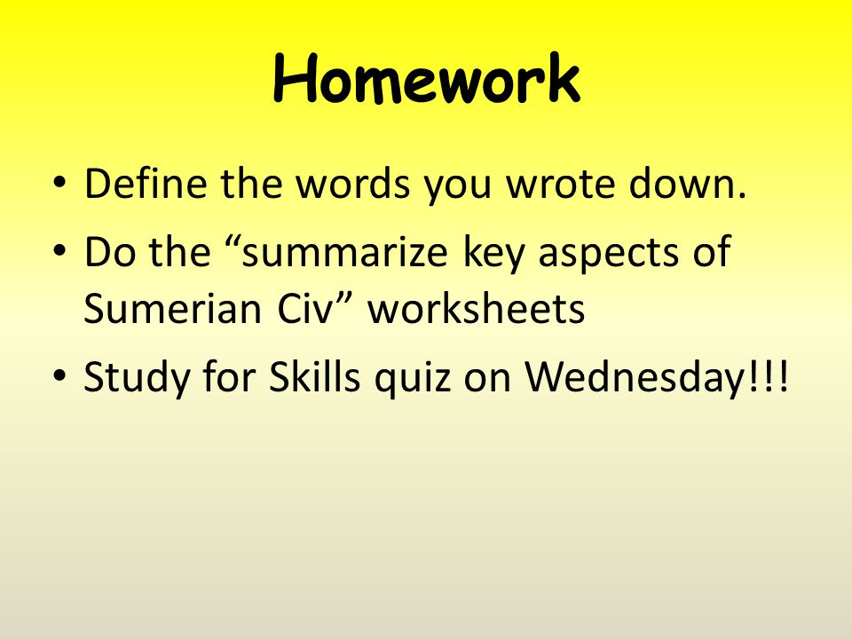 Homework Define the words you wrote down.