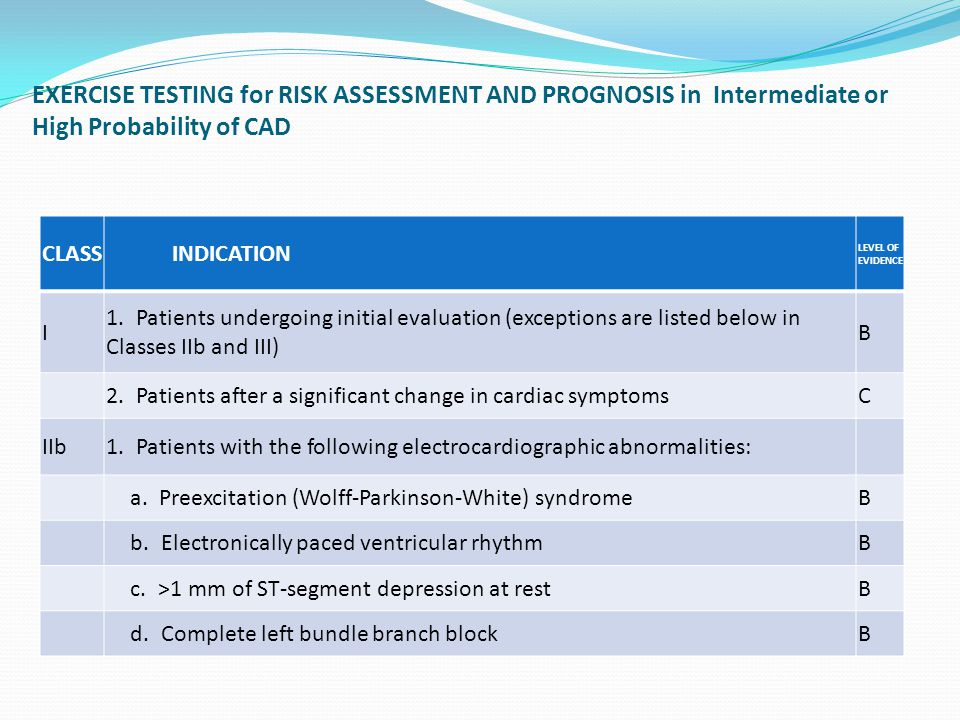 EXERCISE TESTING for RISK ASSESSMENT AND PROGNOSIS in Intermediate or High Probability of CAD CLASS INDICATION LEVEL OF EVIDENCE I 1.