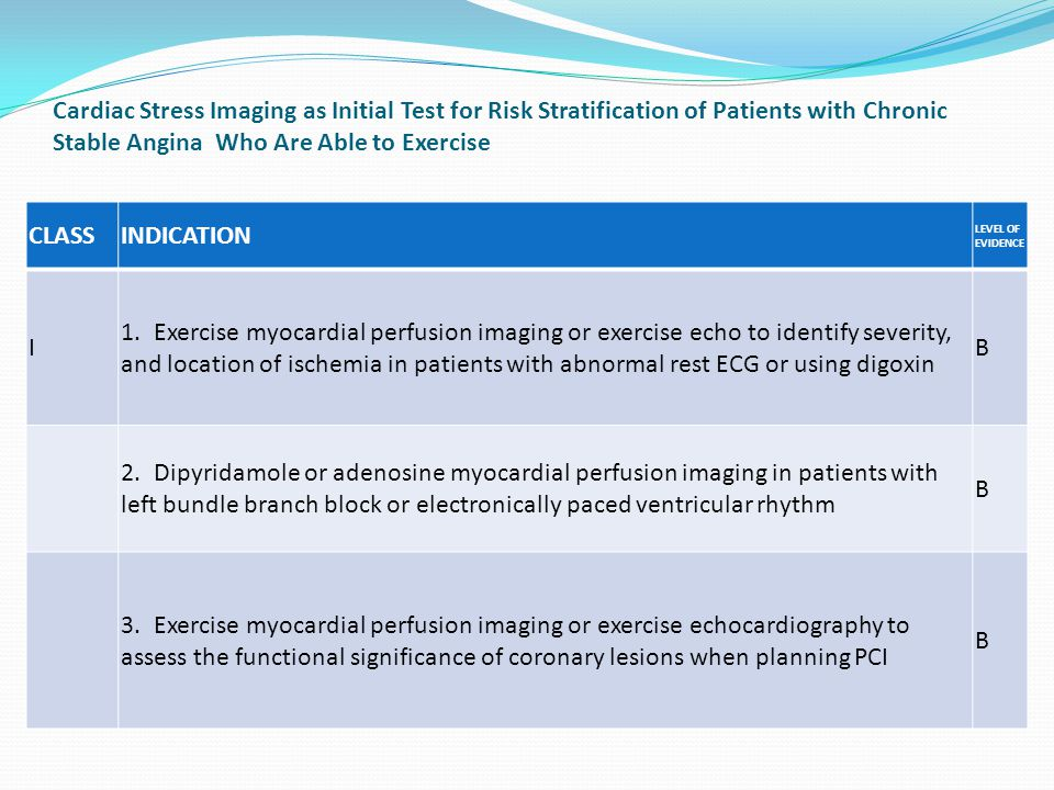Cardiac Stress Imaging as Initial Test for Risk Stratification of Patients with Chronic Stable Angina Who Are Able to Exercise CLASSINDICATION LEVEL OF EVIDENCE I 1.