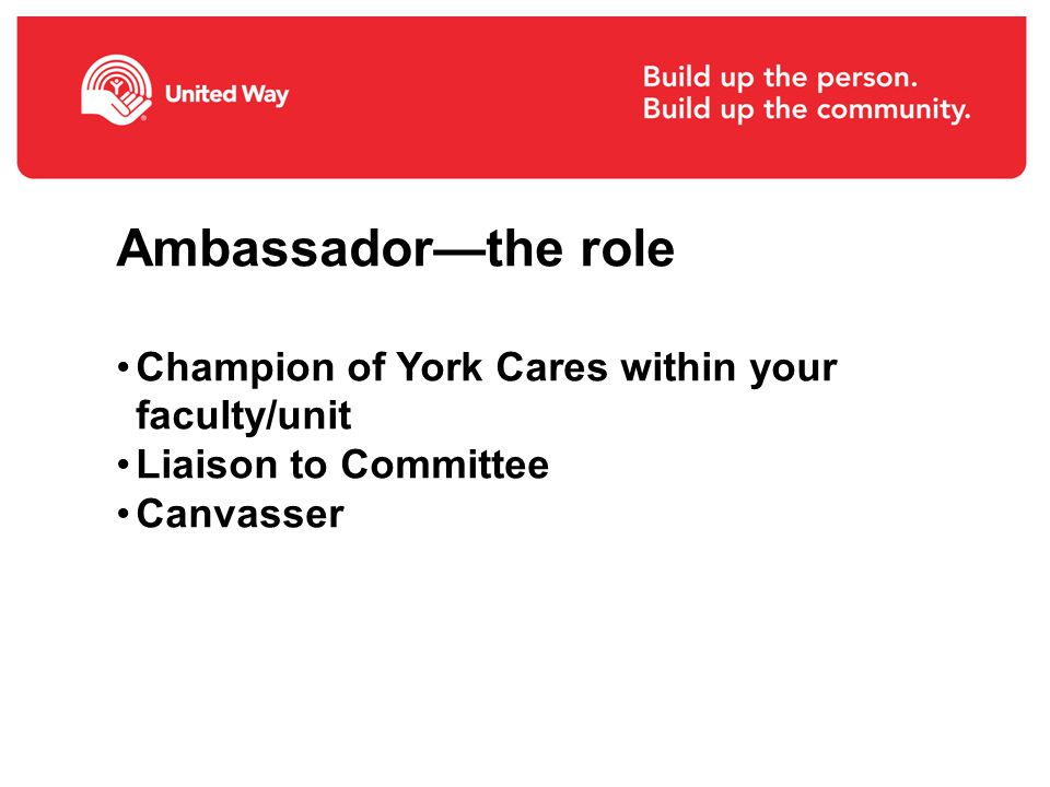 Ambassador—the role Champion of York Cares within your faculty/unit Liaison to Committee Canvasser