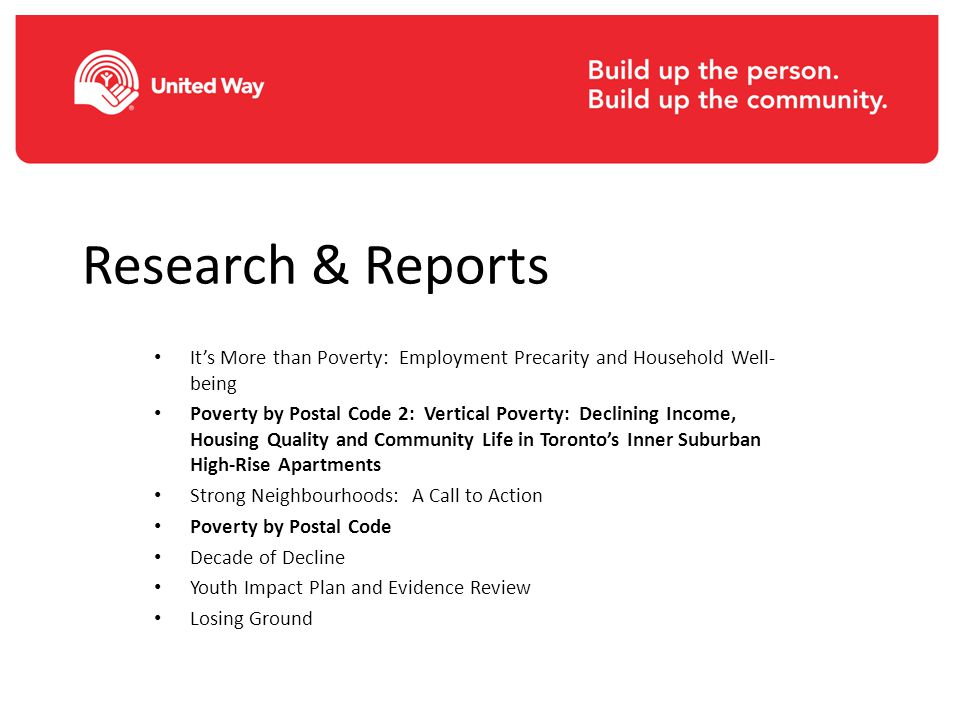 Research & Reports It's More than Poverty: Employment Precarity and Household Well- being Poverty by Postal Code 2: Vertical Poverty: Declining Income