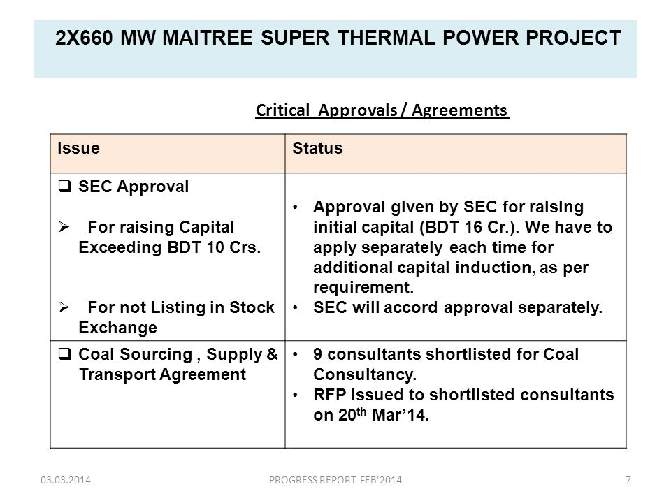 2X660 MW MAITREE SUPER THERMAL POWER PROJECT IssueStatus  SEC Approval  For raising Capital Exceeding BDT 10 Crs.  For not Listing in Stock Exchang