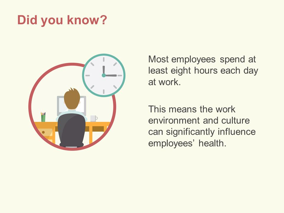Did you know. Most employees spend at least eight hours each day at work.