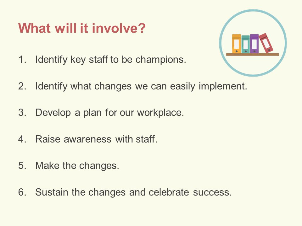 What will it involve. 1.Identify key staff to be champions.