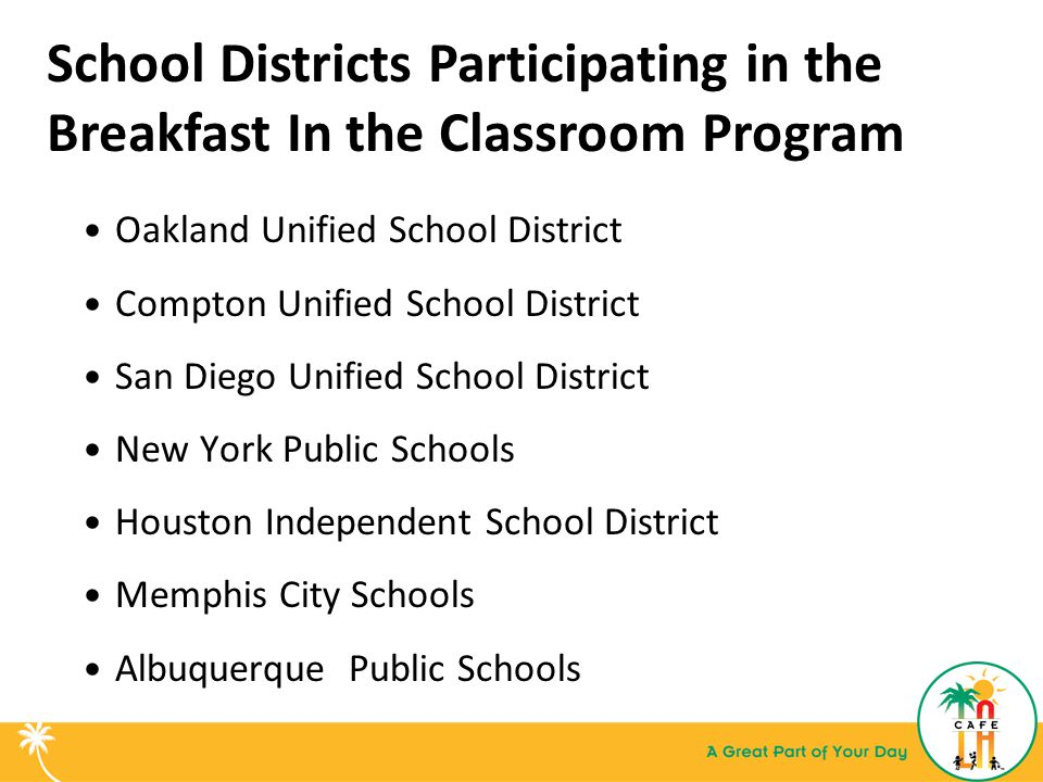 School Districts Participating in the Breakfast In the Classroom Program Oakland Unified School District Compton Unified School District San Diego Uni