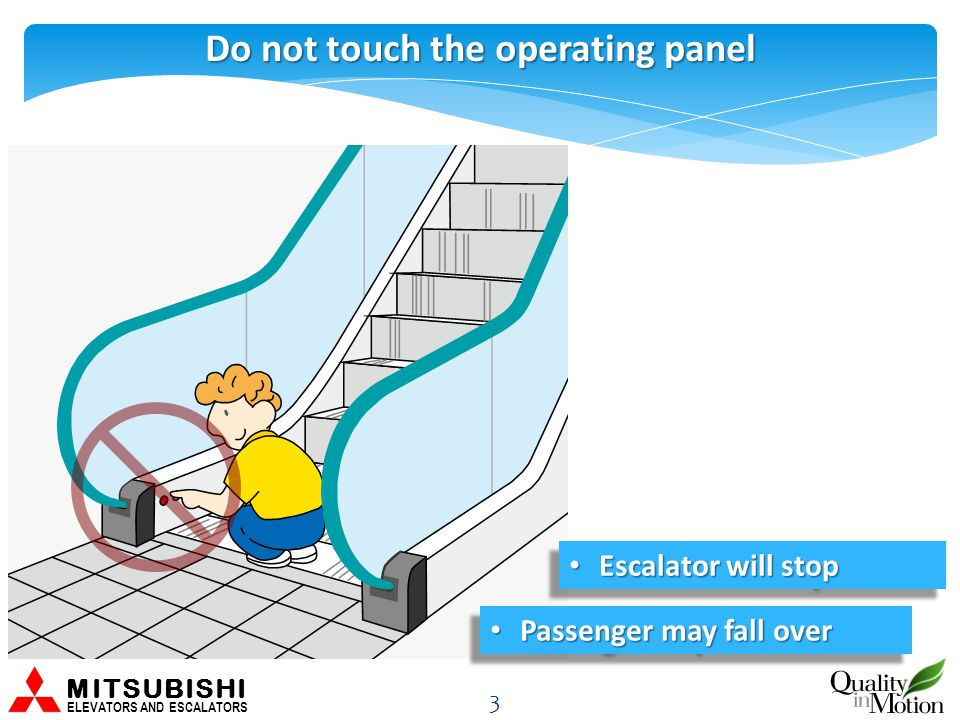Do not touch the operating panel 3 MITSUBISHI ELEVATORS AND ESCALATORS Escalator will stop Escalator will stop Passenger may fall over Passenger may fall over