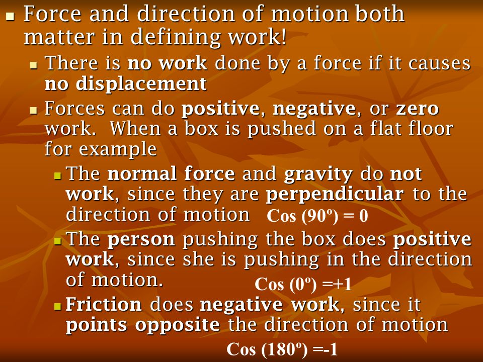 6.3Work done by Gravity Gravitational Potential Energy – energy due to an objects position relative to the earth Gravitational Potential Energy – energy due to an objects position relative to the earth The object has the potential to do work if it can fall because of gravity The object has the potential to do work if it can fall because of gravity Units: Joules (J) Units: Joules (J) 6.4Conservation of Mechanical Energy Total mechanical energy (kinetic + potential) of an object remains constant provided the net work done is by gravity Total mechanical energy (kinetic + potential) of an object remains constant provided the net work done is by gravity