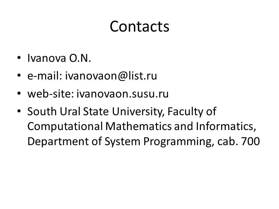 Contacts Ivanova O.N.