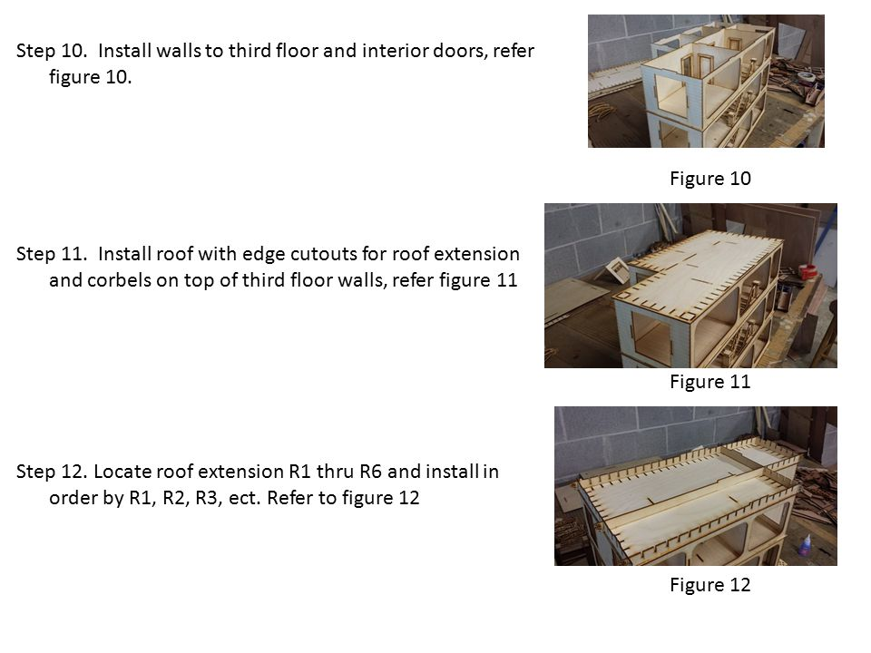 Figure 10 Step 10. Install walls to third floor and interior doors, refer figure 10.