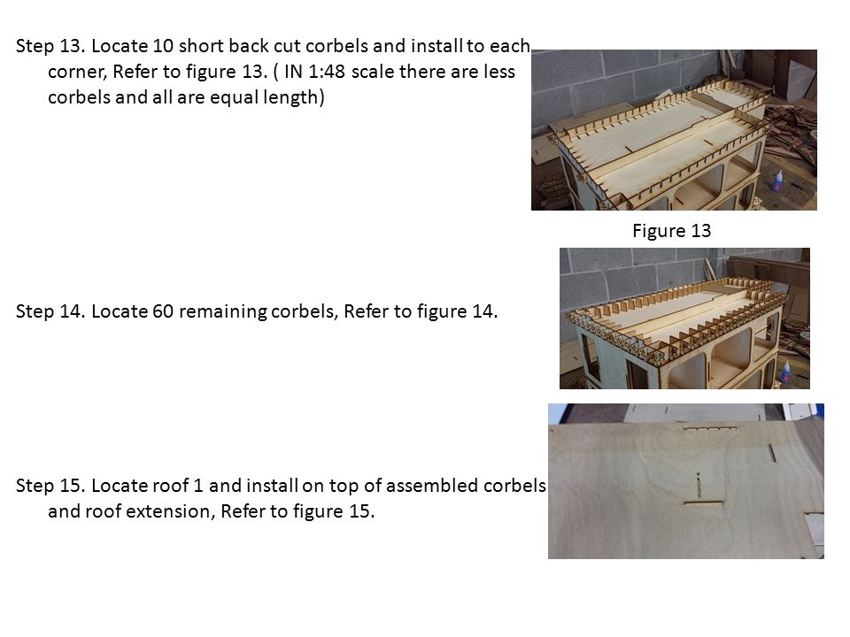 Step 13.Locate 10 short back cut corbels and install to each corner, Refer to figure 13.