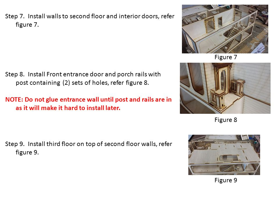 Figure 7 Step 7.Install walls to second floor and interior doors, refer figure 7.