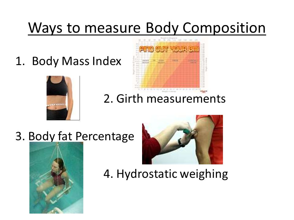 Ways to measure Body Composition 1.Body Mass Index 2.