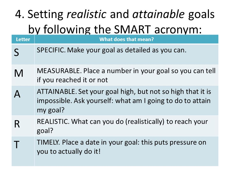 4. Setting realistic and attainable goals by following the SMART acronym: LetterWhat does that mean? S SPECIFIC. Make your goal as detailed as you can