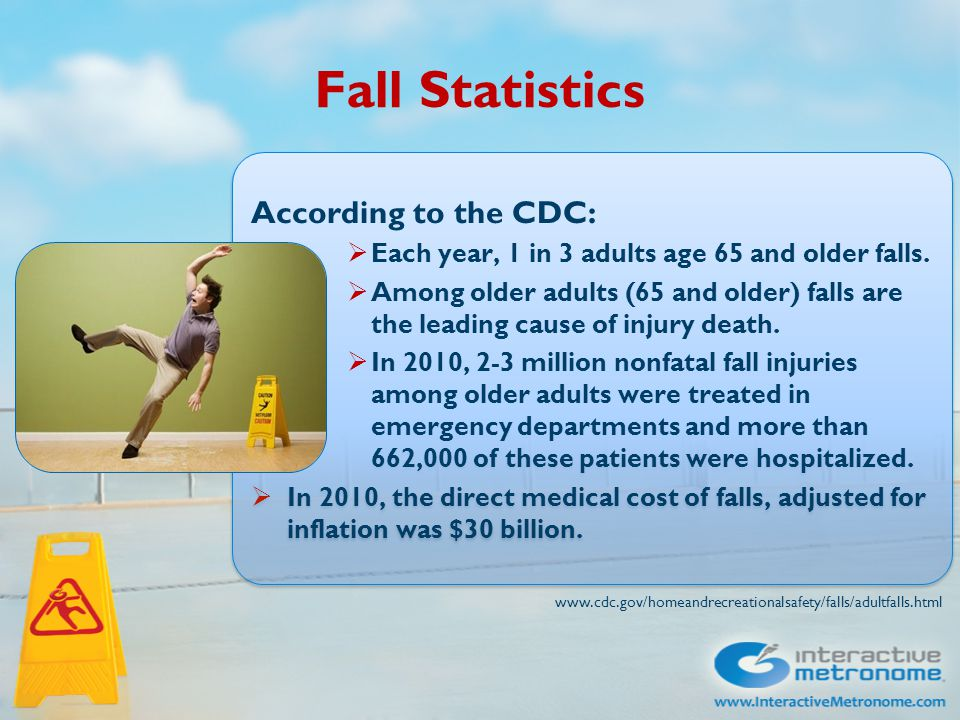 Fall Statistics According to the CDC:  Each year, 1 in 3 adults age 65 and older falls.