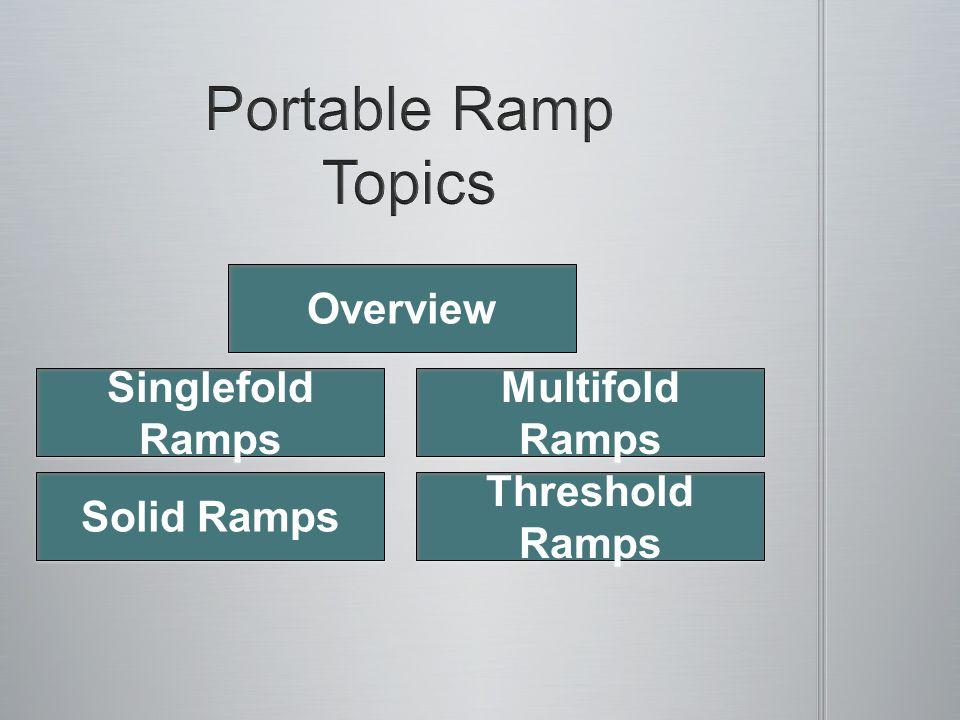 Overview Singlefold Ramps Singlefold Ramps Multifold Ramps Multifold Ramps Solid Ramps Threshold Ramps Threshold Ramps