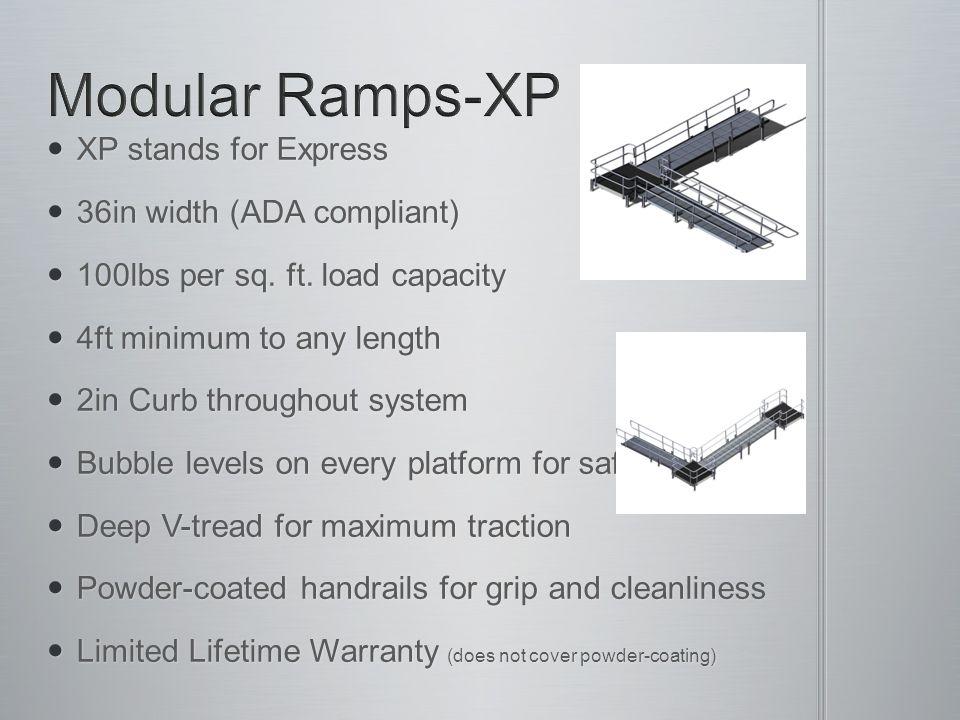 XP stands for Express XP stands for Express 36in width (ADA compliant) 36in width (ADA compliant) 100lbs per sq. ft. load capacity 100lbs per sq. ft.