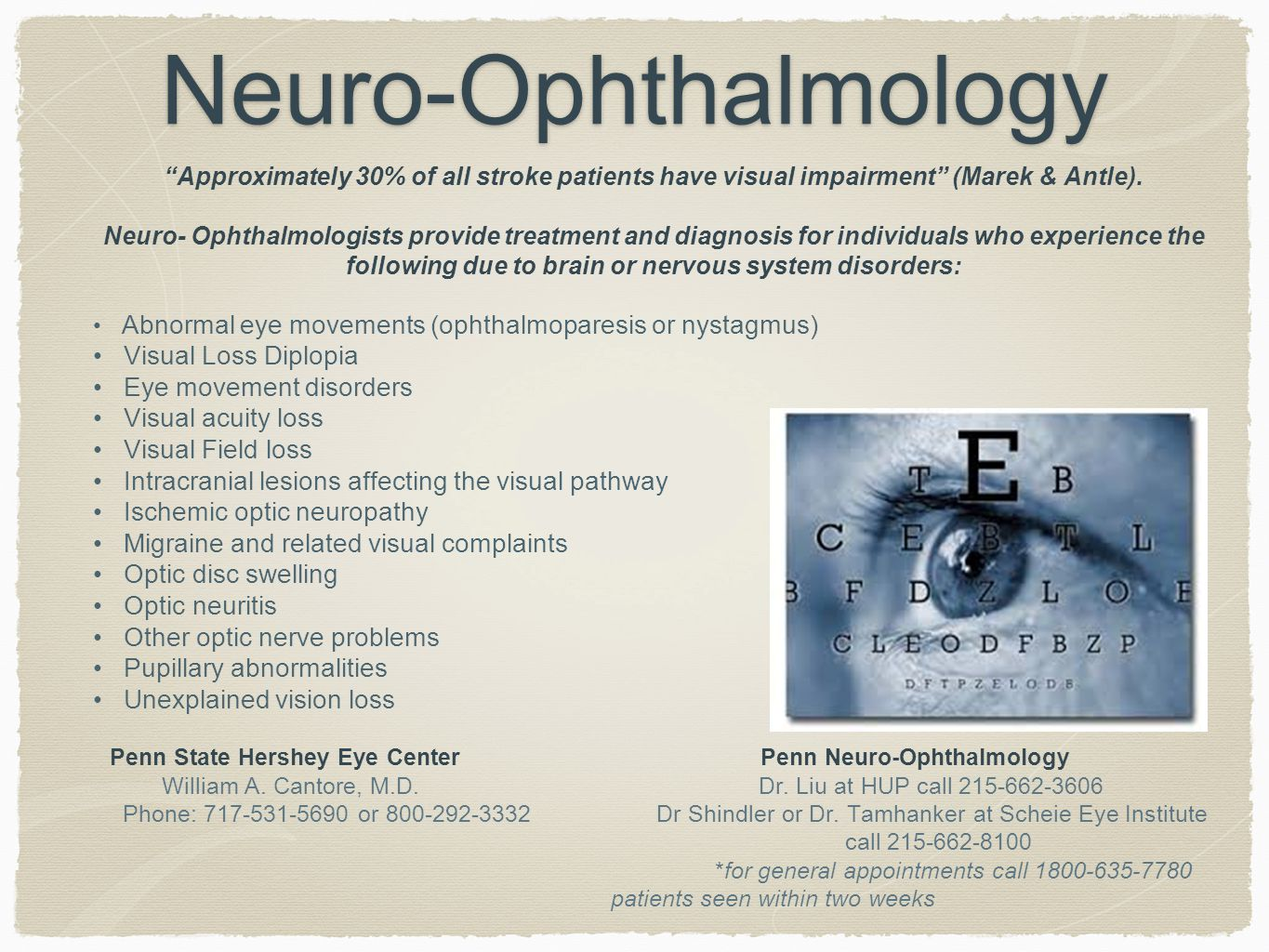 Neuro-Ophthalmology Approximately 30% of all stroke patients have visual impairment (Marek & Antle).